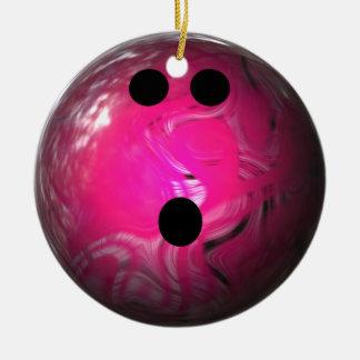 Bola de bolos rosada del remolino ornamento de navidad