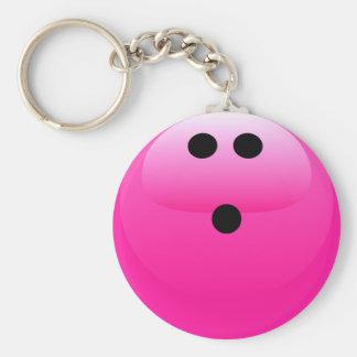 Bola de bolos rosada llavero redondo tipo pin