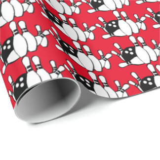 Bola de bolos y papel de embalaje del modelo de papel de regalo