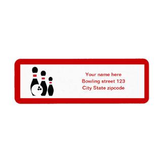 Bola de bolos y personalizado rojo negro de los pe etiqueta de remite