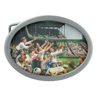 Bola de cogida del home run hebilla de cinturón oval