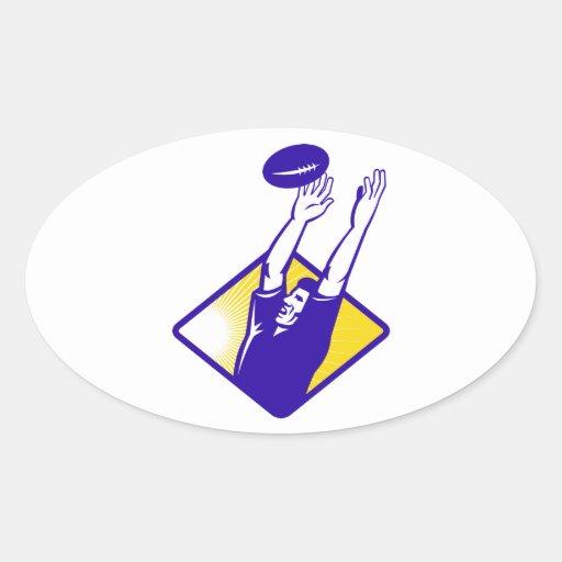 Bola de cogida del Lineout del jugador del rugbi Calcomanías De Ovaladas