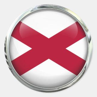 Bola de cristal de la bandera de Alabama Pegatina Redonda