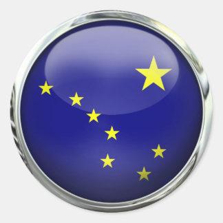 Bola de cristal de la bandera de Alaska Pegatinas Redondas