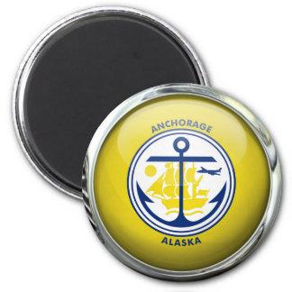 Bola de cristal de la bandera de Anchorage Imán Redondo 5 Cm