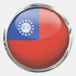Bola de cristal de la bandera de Birmania Pegatina Redonda
