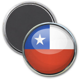 Bola de cristal de la bandera de Chile Imán Redondo 7 Cm