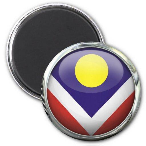 Bola de cristal de la bandera de Denver Imán Redondo 5 Cm