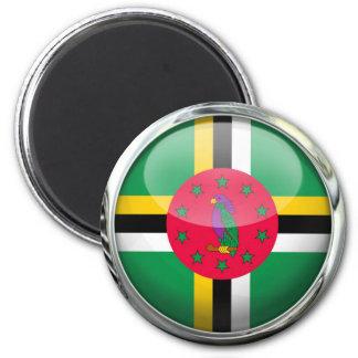 Bola de cristal de la bandera de Dominica Imán Redondo 5 Cm