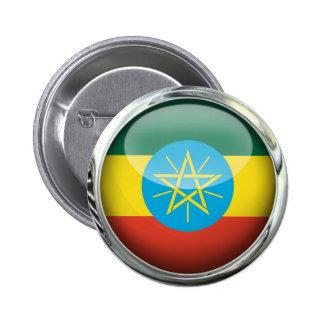 Bola de cristal de la bandera de Etiopía Pin Redondo De 2 Pulgadas