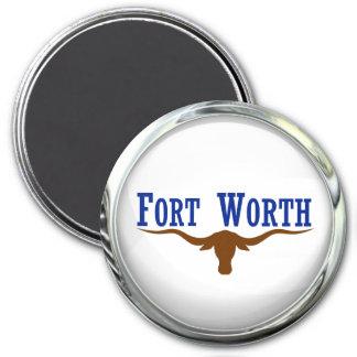 Bola de cristal de la bandera de Fort Worth Imán Redondo 7 Cm