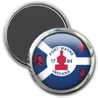 Bola de cristal de la bandera de fuerte Wayne Imán Redondo 7 Cm