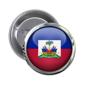 Bola de cristal de la bandera de Haití Pin Redondo De 2 Pulgadas