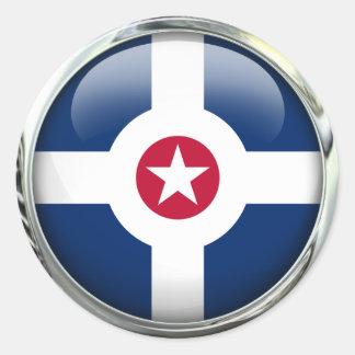 Bola de cristal de la bandera de Indianapolis Pegatina Redonda