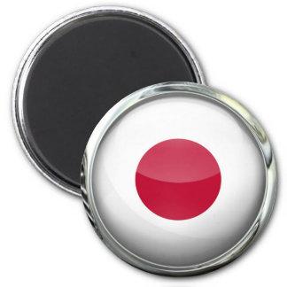 Bola de cristal de la bandera de Japón Imán Redondo 5 Cm