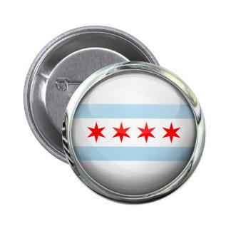 Bola de cristal de la bandera de la ciudad de pin redondo de 2 pulgadas