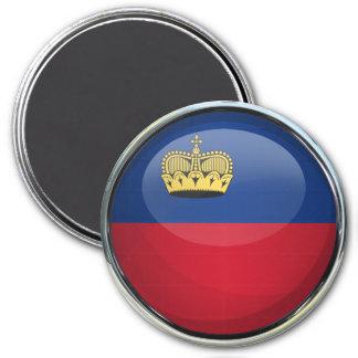 Bola de cristal de la bandera de Liechtenstein Imán Redondo 7 Cm