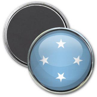 Bola de cristal de la bandera de Micronesia Imanes De Nevera
