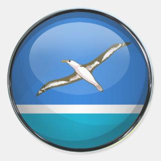 Bola de cristal de la bandera de Midway Islands Pegatina Redonda