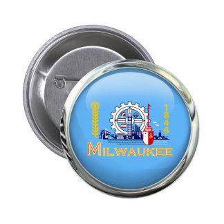 Bola de cristal de la bandera de Milwaukee Pin Redondo De 2 Pulgadas