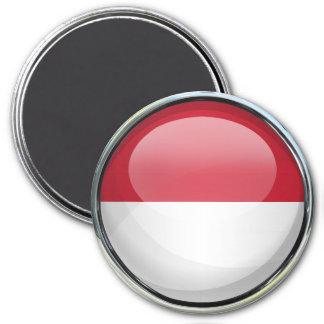 Bola de cristal de la bandera de Mónaco Imán Redondo 7 Cm