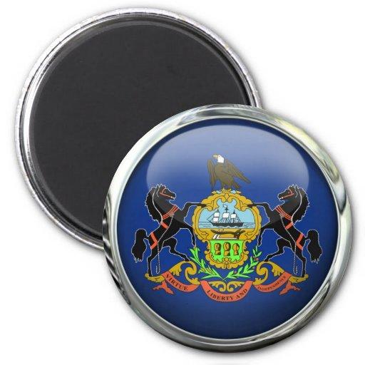 Bola de cristal de la bandera de Pennsylvania Imán Redondo 5 Cm
