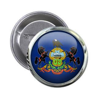 Bola de cristal de la bandera de Pennsylvania Pin Redondo De 2 Pulgadas