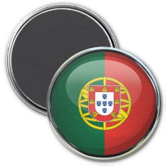 Bola de cristal de la bandera de Portugal Imán Redondo 7 Cm