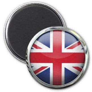 Bola de cristal de la bandera de Reino Unido Imán Redondo 5 Cm
