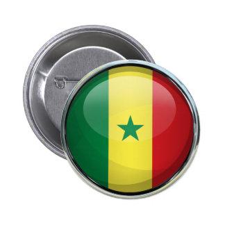 Bola de cristal de la bandera de Senegal Pin Redondo De 2 Pulgadas