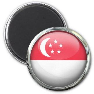 Bola de cristal de la bandera de Singapur Imán Redondo 5 Cm