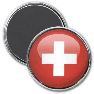 Bola de cristal de la bandera de Suiza Imán Redondo 7 Cm
