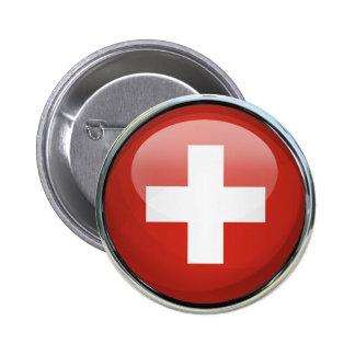 Bola de cristal de la bandera de Suiza Pin Redondo De 2 Pulgadas