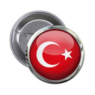 Bola de cristal de la bandera de Turquía Pin Redondo De 2 Pulgadas