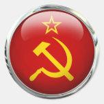 Bola de cristal de la bandera de Unión Soviética Etiquetas Redondas