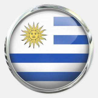 Bola de cristal de la bandera de Uruguay Pegatina Redonda