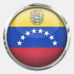 Bola de cristal de la bandera de Venezuela Etiqueta Redonda