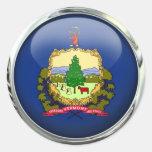 Bola de cristal de la bandera de Vermont Pegatina Redonda