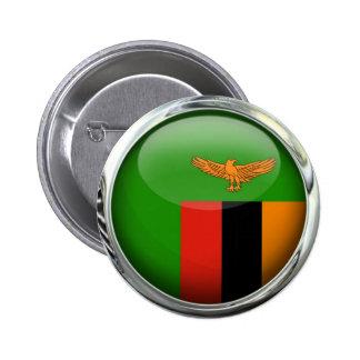 Bola de cristal de la bandera de Zambia Pin Redondo De 2 Pulgadas