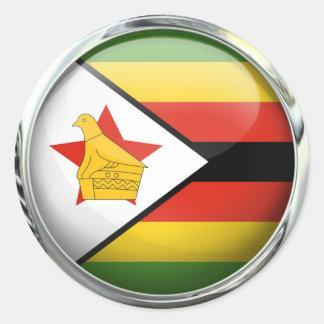 Bola de cristal de la bandera de Zimbabwe Pegatina Redonda