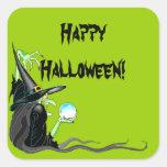 Bola de cristal de la bruja del feliz Halloween Calcomanía Cuadrada