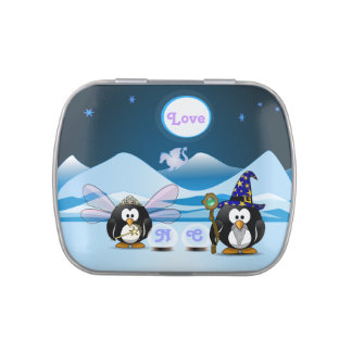 Bola de cristal de la hada del mago de los pingüin frascos de dulces