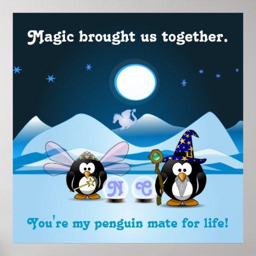 Bola de cristal de la hada del mago de los pingüin posters