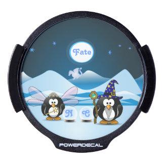 Bola de cristal de la hada del mago de los pingüin sticker LED para ventana