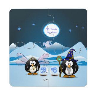 Bola de cristal de la hada del mago de los pingüin posavasos de puzzle