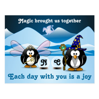 Bola de cristal de la hada del mago de los pingüin tarjetas postales