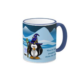Bola de cristal de la hada del mago de los pingüin taza