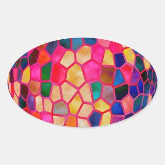 Bola de cristal que brilla intensamente roja clara calcomania de óval