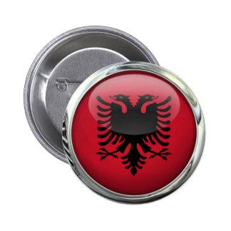 Bola de cristal redonda de la bandera de Albania Pin Redondo De 2 Pulgadas