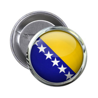Bola de cristal redonda de la bandera de Bosnia Pin Redondo De 2 Pulgadas